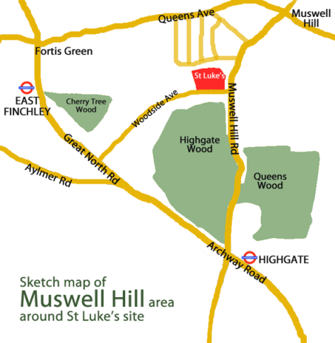 Sketch map of the Muswell Hill area around St Luke's site