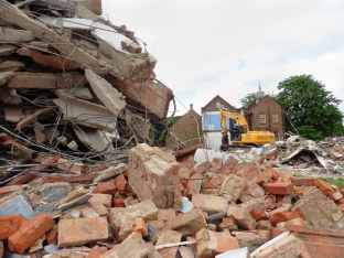 Woodside Square demolition in progress June 2015