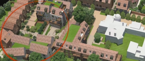 Developer's CGI aerial-view of Woodside Grove